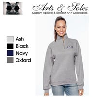 GREEK Monogrammed Personalized Navy Forest Green Oxford Grey Black Sweatshirt Quarter Zip Pullover by Arts & Soles