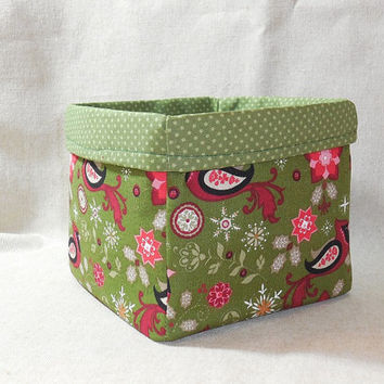 Charming Christmas Bird Inspired Fabric Basket
