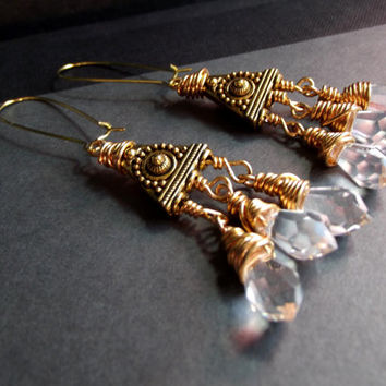 Crystal Point Earrings:  Long Ornate Gold Chandelier Earrings, Holiday Statement Jewelry, Wire Wrapped Crystal Drop Dangle Earrings