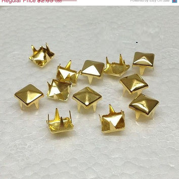 On Sale 8mm Gold  Square Rivet Pyramid Studs for Cell Phone decoration, Deco, Leather, Craft , DIY, Jean, denim