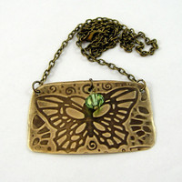 Butterfly Necklace Brass with Swarovski Crystal