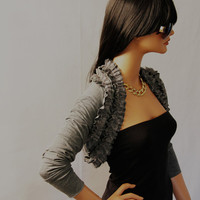 Grey Shrug with lace ruffles long sleeves