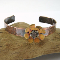 Copper Cuff Bracelet Brass Flower and Hammered Texture