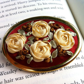 Red Embroidered Silk Roses Brooch - Silk RIbbon Embroidery by BeanTown Embroidery