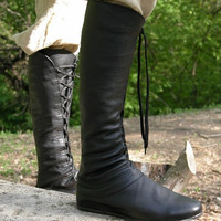 "Medieval Men's High Leather Boots ""Forest""; Black leather shoes with lacing"