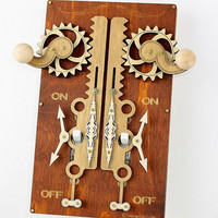 Rustic Double Rack and Pinion Light Switch Plate