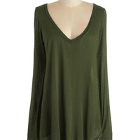 ModCloth Long Long Sleeve Casual You Need Top in Forest