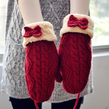 FunShop Bowtie Mitten Gloves with Faux Furs Cuff for Women