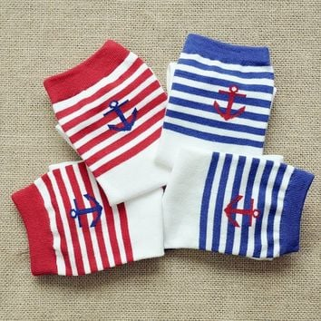 FunShop Woman's Stripes and Anchor Pattern Cotton Ankel Socks in 2 Colors