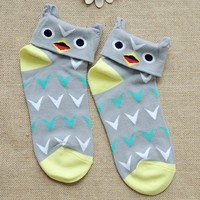 FunShop Woman's Zebra Bird and Cow Pattern Cotton Ankel Socks in 3 Colors