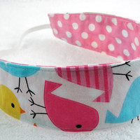 Child reversible headband - Robert Kaufman birds dots pink blue green yellow cotton toddler gift girl - Bandeau fillette - Ready to ship