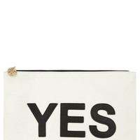"""Black And White """"Yes No"""" Clutch Bag"""