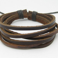 Jewelry bracelet leather bracelet men bracelet buckle bracelet women bracelet  made of  6 pcs brown leather bracelet cuff SH-1001