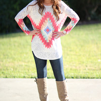 Tall Order Sweater Aztec Tunic - Pink