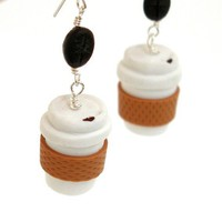 Take out coffee earrings