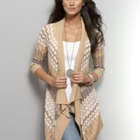 New York & Company - Sweaters - Gold Zig-Zag Flyaway Sweater