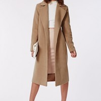 Missguided - Kimberley Premium Waterfall Coat Camel