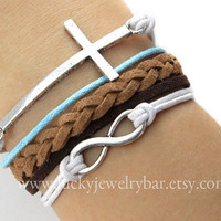 Karma-infinity bracelet, cross bracelet, braid leather bracelet, SALE