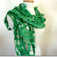 Emerald Green Wool Scarves. Felted Woven Scarf. Luck of the Irish