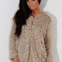 Hot Cocoa Beige Supersoft Fluffy Cardigan | Pink Boutique