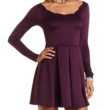Scalloped Neck Pleated Skater Dress by Charlotte Russe - Purple