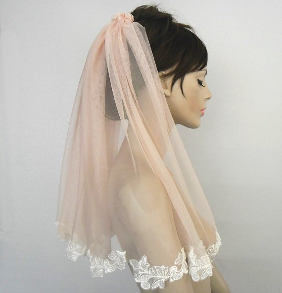 Soft blush pink bridal tulle veil, lace applique trim, unusual veil, unique design, handmade