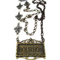 Bourbon Fleur de Lis Mixed Metal Chain Necklace