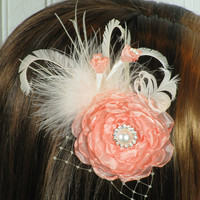 OOAK Fabric Flower Headpiece, Peach, Wedding Floral Headpiece- Fascinator, Dress Sash Brooch, Garden Weddings, Lady Penelope