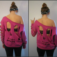 BLACK Over-sized Studded Skull Sweatshirt