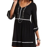 Kimono Sleeve Skater Dress with Crochet by Charlotte Russe - Black