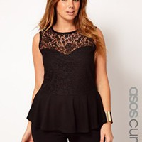 ASOS CURVE Exclusive Top With Lace Bodice Peplum at asos.com