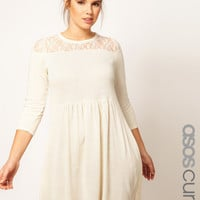 ASOS CURVE Exclusive Knitted Dress With Lace at asos.com