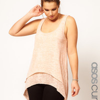 ASOS CURVE Exclusive Dip Back Top With Double Layer at asos.com