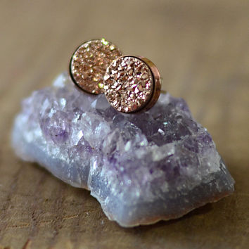 Rose Gold Druzy Stud Earrings in Yellow Gold Vermeil Setting