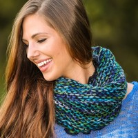 Gather My Affections Infinity Scarf-Navy/Forest