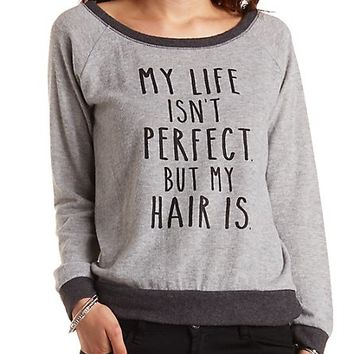 Fuzzy Fleece Perfect Hair Graphic Pullover - Gray Combo