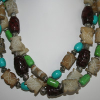Very Rare Highly Polished Chocolate Carved Jade Beads Colorful Turquoise Lime Magnesite Beaded Tribal Style Necklace
