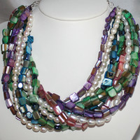 Mother of Pearl Freshwater Pearl 9 Strand Colorful Beach Wedding Statement Necklace