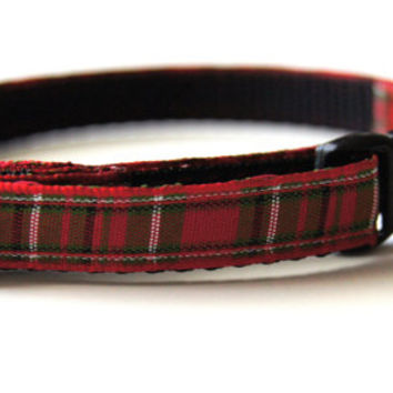 Red Plaid Christmas Cat or Mini Dog Collar