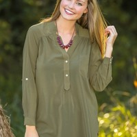 Penny For Your Thoughts Blouse-Olive