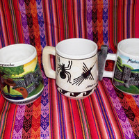 Peruvian Design Mugs with landscapes of Peru.