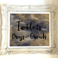 Halloween Decor Toilets boys and ghouls 8x10 printable sign black orange purple instant download, bathroom boys and ghouls diy toilet sign