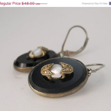 Vintage Victorian  Earrings Sterling Silver Onyx & Pearl
