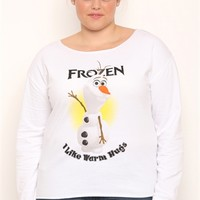 Plus Size Long Sleeve French Terry Top with Frozen Warm Hugs Screen