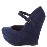 Mary Jane Platform Wedge Pumps by Charlotte Russe - Navy