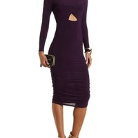 Ruched Bodycon Dress with Cut-Outs by Charlotte Russe - Purple