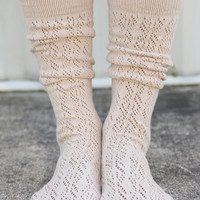 Tip Toe Through The Night Socks: Taupe - One