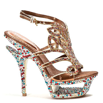 Dazzle Open Toe Platform Jeweled Pump Stiletto Heel