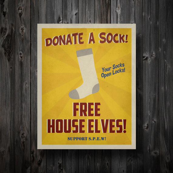 "Harry Potter Inspired SPEW House Elves Propaganda Poster 11"" x 14"""