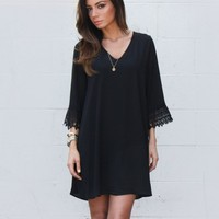 CROCHET TRIM DRESS